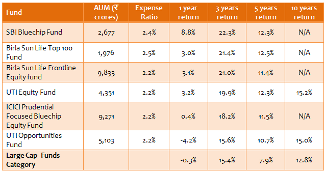 Equity Funds Large Cap - Top 6 large cap consistent performers