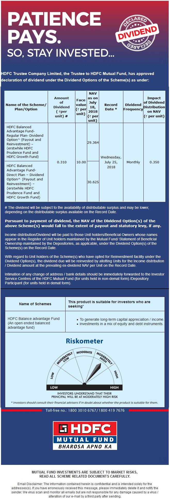 hdfc balanced advantage fund dividend