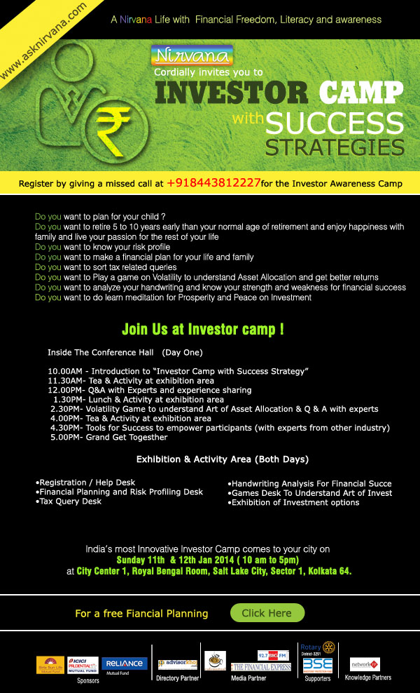 Nirvana to organize INVESTOR CAMP WITH SUCCESS STRATEGIES both for advisors and investors in 24 cities